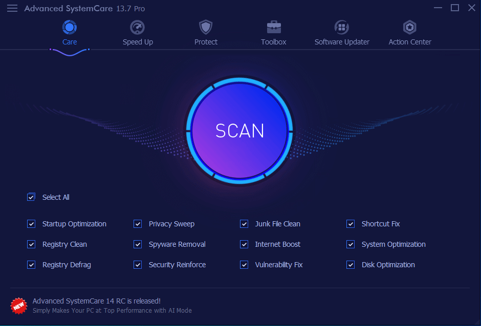 Advanced SystemCare Main Interface